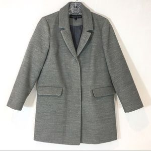 Topshop | Grey button front dressy pea coat 2P
